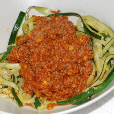 Kjøttsaus med squashpasta og litt rundt lavkarbo og karbohydrater